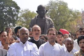 Seeking Review Rahul Leads Protest By Cong Mps Seeking Review Of Apex Court