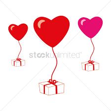 heart shaped balloons heart shaped balloons to a gift box vector image 1279123