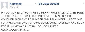 j c penney fake sale class action settlement credit vouchers emailed