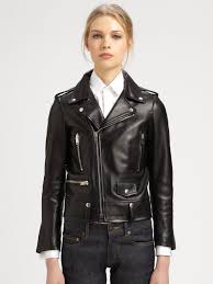classic leather motorcycle jackets saint laurent leather motorcycle jacket in black lyst