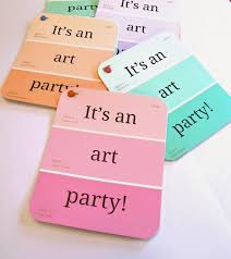 art party invitations using paint chips so cute art party