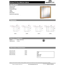 design house 530568 richland nutmeg oak tri view medicine cabinet