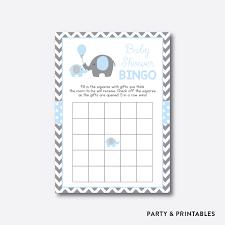 instant download elephant baby shower bingo elephant blank