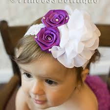 headband baby vintage purple and big white chiffon flower on lace baby