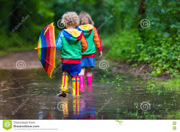 kids playing in the rain stock photo image 72603968