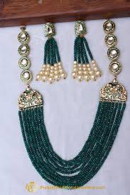 pearls necklace set jewellery images Green kundan pearl necklace set by punjabi traditional jewellery jpg