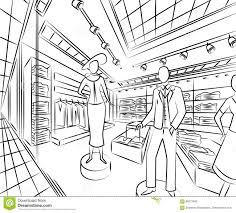 shopping center with fashion stores interior design in sketch