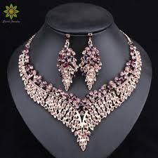 earrings with statement necklace images Leaf african bridal jewelry sets for women big crystal statement jpg