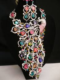 crystals fashion necklace images Silver metal crystals multi color peacock feathers statement long jpeg