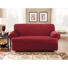 Sofa Loveseat Slipcovers by Amazon Com Sure Fit Stretch Pique T Cushion Three Piece Sofa