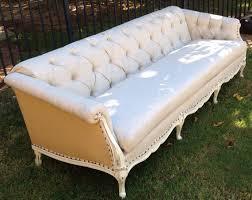 Upholstery Burlap Vintage Sofa French Provincial Wood Frame Custom Tufted Upholstery