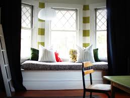 interior interesting bedroom design with white bay window and
