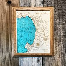 monterey bay ca single depth nautical wood chart 8 x 10 on