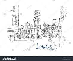 ink sketch drawing famous place london stock vector 493493557