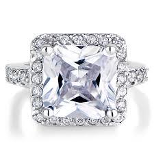 5 Carat Cushion Cut Engagement Rings Cubic Zirconia Halo Rings Emitations
