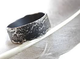 mens silver rings buy a crafted unique silver ring molten surface cool mens