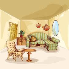 Armchair Sofa Living Room Interior Sketch Background With Armchair Sofa Mirror