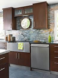 Glass Backsplashes For Kitchens Cherry Cabinets Combined With Granite Countertops And Tuscan
