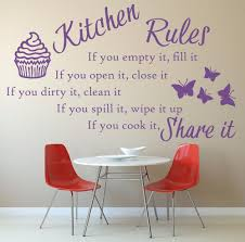 kitchen rules quote vinyl wall art sticker mural decal home
