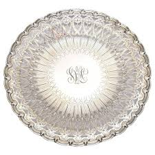 engraved silver platter and co pierced and engraved footed sterling silver tray