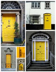 Gray And Yellow Home Decor Decorating Appealing Brown House Entrance Door With Gray Wall
