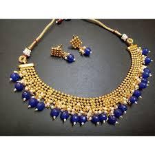 blue beads necklace images Blue beads jewelry kundan women necklace set kundan ke kanthhaar jpg