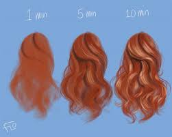 step by step painting slightly curled loose hair in photo