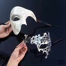 laser cut masquerade masks his hers classic phantom masquerade masks ivory silver themed