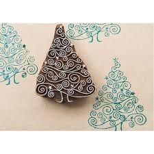 blockwallah hand carved wood stamp c068 spiral christmas tree
