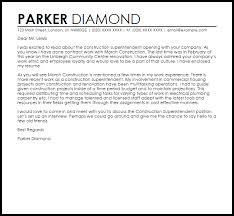 construction superintendent cover letter sample livecareer