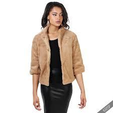 krisp womens 3 4 sleeve faux fur vegan cropped jacket gilet winter