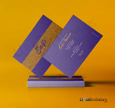 Wedding Invitations Cards Uk Gold And Purple Asian Wedding Invitation Card Qdl06
