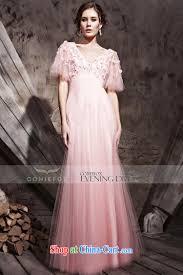 creative fox dress retro bubble sleeve wedding dresses pink deep v