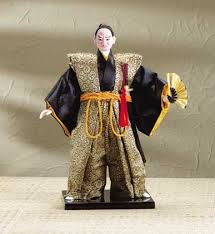 asian home decor samurai doll on wood base