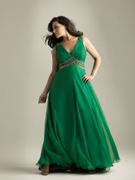 a line v neck floor length long plus size green chiffon prom
