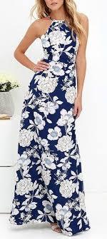 light blue halter maxi dress in blossom blue floral print maxi dress dark blue bodice and closure