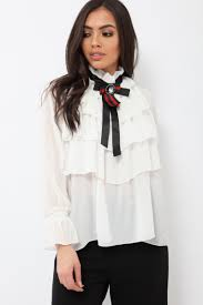 ruffle blouse sheer ruffle blouse with striped neck tie viktoria