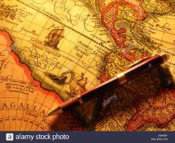 Old World Map Pen On Old World Map Stock Photo Royalty Free Image 3089598 Alamy
