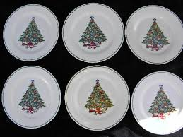 mount mt clemens pottery lot 6 dinner plates tree china