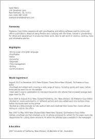 Freelance Resume Sample by Professional Freelance Copy Editor Templates To Showcase Your