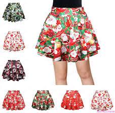 christmas skirt summer women santa claus print mini skirts vintage christmas tree