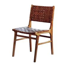 Woven Dining Chair Leather Weaved Dining Chair Contemporary Industrial Mid Century
