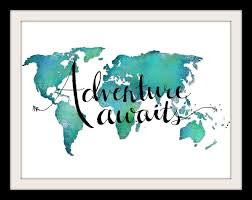 World Map Art Print by Amazon Com Adventure Awaits Teal World Map Print 8x10 Inches