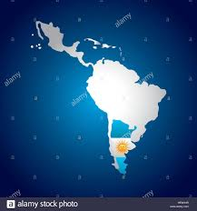 Latin America Map by Latin America Map With The Argentina Flag Over Blue Background