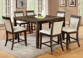 dining room 7 piece grey finish wood dining set with area rug and