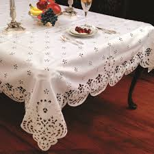 amazon com violet linen daisy design with cutwork tablecloth 70