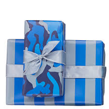 blue camo stripes reversible wrapping paper mixed bag designs