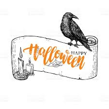 happy halloween vector banner with lettering and ribbon candle