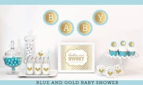 blue baby shower blue and gold baby shower decor boy baby shower ideas gold