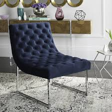 Navy Blue Velvet Accent Chair by Fox6283b Accent Chairs Furniture By Safavieh